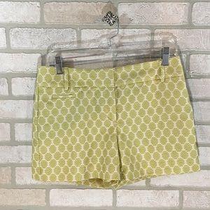Ann Taylor Loft Chartreuse Print Textured Shorts